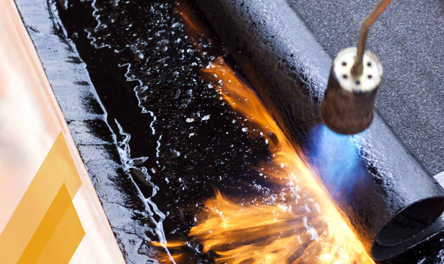 Reroofing Roofer in Edmonton by MD Roofing - image of flame torch installing flat SBS roofing
