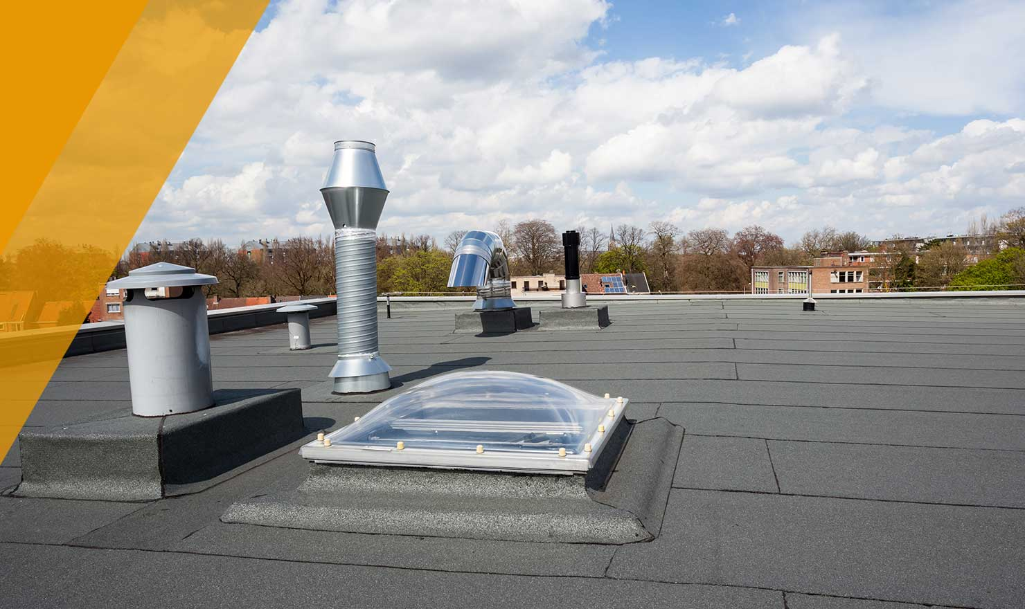 Image of a repaired flat commercial by MD roofing in edmonton